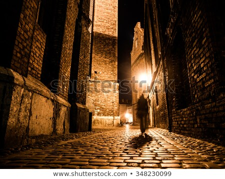 old historic prague street at night with old lamps stock photo © taiga