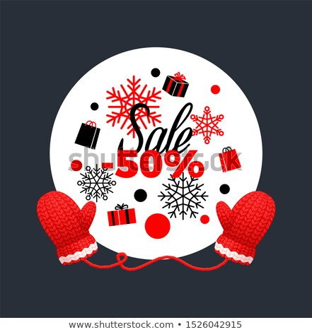 Winter Sale, Wreath Made of Snowflakes, Gloves Stock photo © robuart
