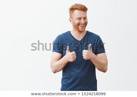 Сток-фото: бизнесмен · улыбка · большой · палец · руки · вверх · подобно · жест