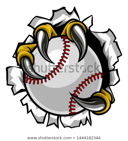 Eagle Baseball Cartoon Mascot Tearing Background Stock photo © Krisdog