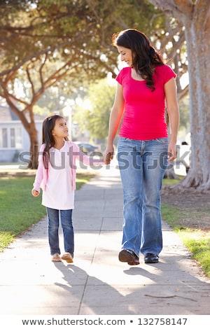 Happy children walking on sidewalk Stock photo © colematt