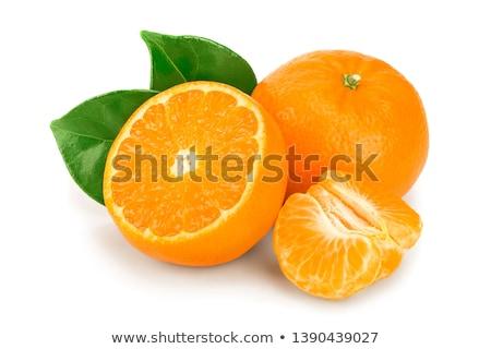 Stock fotó: Friss · organikus · mandarin · mandarin · gyümölcs · levelek