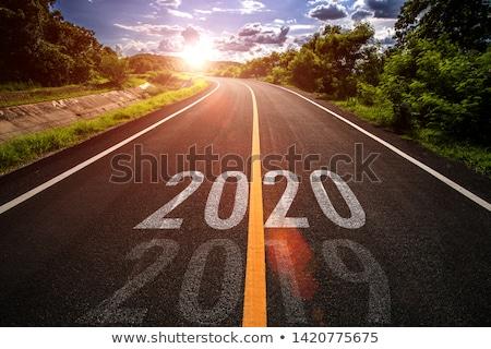 Новый · год · впереди · дорожный · знак · иллюстрация · дизайна · белый - Сток-фото © oakozhan