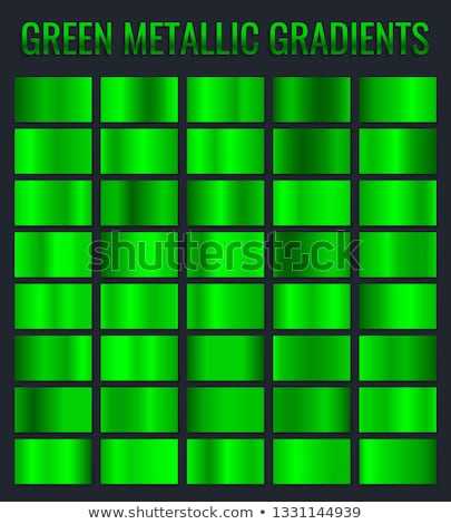 Collection of green metallic gradient. Brilliant plates with chrome effect. Vector illustration Stock photo © olehsvetiukha