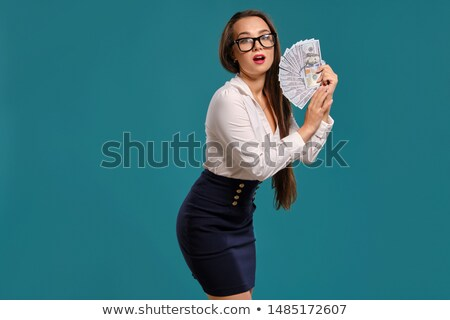 Alluring woman with amazing long hair Isolated on black background Stock photo © studiolucky