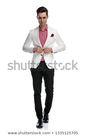 guapo · grave · hombre · camisa · aislado · gris - foto stock © feedough