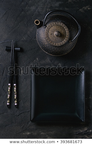 üres tányér teáskanna evőpálcikák csészék fekete Stock fotó © karandaev