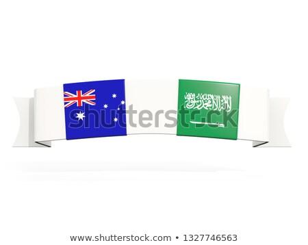 Bandeira dois praça bandeiras Austrália Arábia Saudita Foto stock © MikhailMishchenko