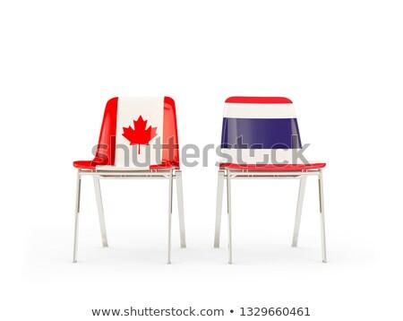 Dwa krzesła flagi Kanada Tajlandia odizolowany Zdjęcia stock © MikhailMishchenko