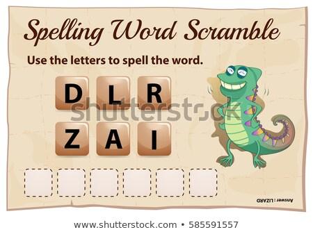 Helyesírás szó játék sablon gyík illusztráció Stock fotó © colematt