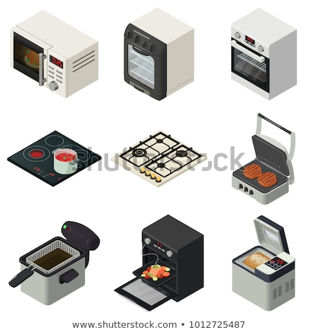 Сток-фото: Kitchen Color Isometric Icons Set