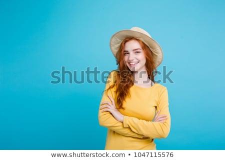 sevimli · genç · kız · yaz · şapka · zaman - stok fotoğraf © deandrobot