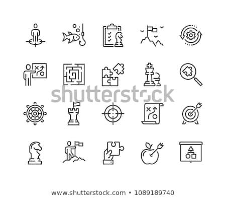 cavalo · xadrez · vetor · linha · ícone · isolado - foto stock © smoki