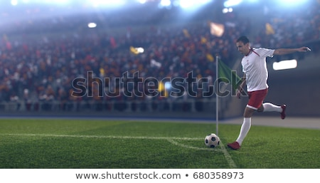 Soccer Corner Kick on the Grass Field stock photo © matimix