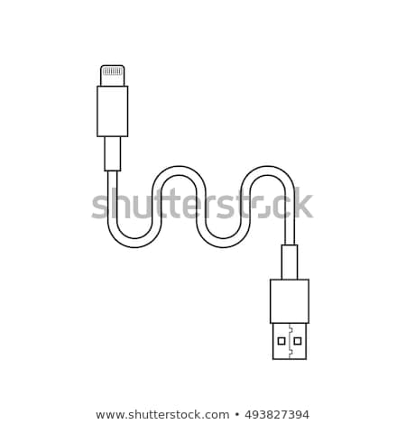 Smartphone with lightning. battery charging linear icon. Thin line illustration. Vector illustration Stock photo © kyryloff