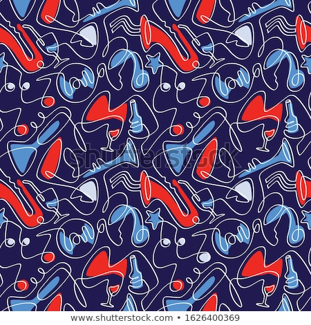 Vector jazz seamless pattern in flat vintage style Zdjęcia stock © Giraffarte
