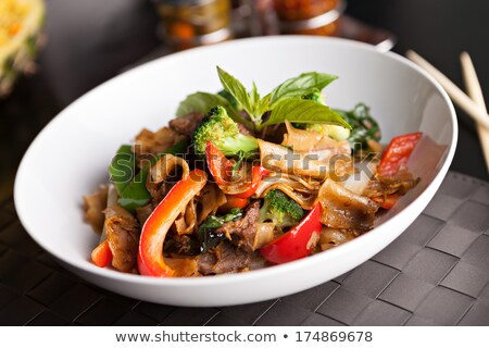 Stir fry beef with mixed vegetables and rice Stock photo © dashapetrenko