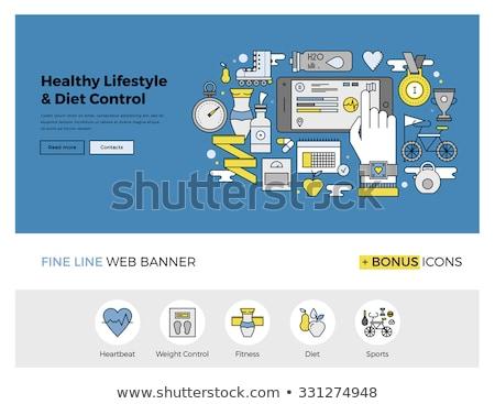 Heart care medicine outline banner. For websites and mobile app. Flat vector illustration Stock photo © makyzz
