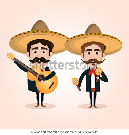 Cinco de Mayo mariachi hat banner of culture icons Stock photo © cienpies