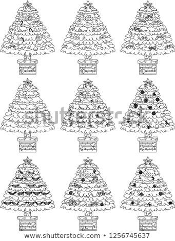 Ingericht kerstboom schets ingesteld illustratie groot Stockfoto © Blue_daemon