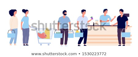 People Waiting In Long Queue To Cashier Set Vector Stock photo © pikepicture