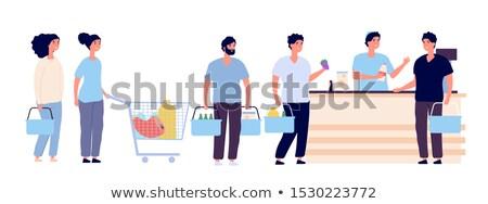 Emberek vár hosszú sor pénztáros szett Stock fotó © pikepicture