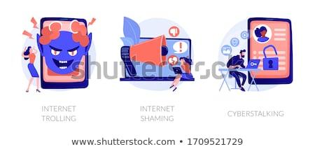 Internet aanhoudend privacy aanval achtervolging sociale Stockfoto © RAStudio