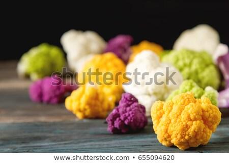 新鮮な · 紫色 · カリフラワー · 青 · ボウル · フル - ストックフォト © nito