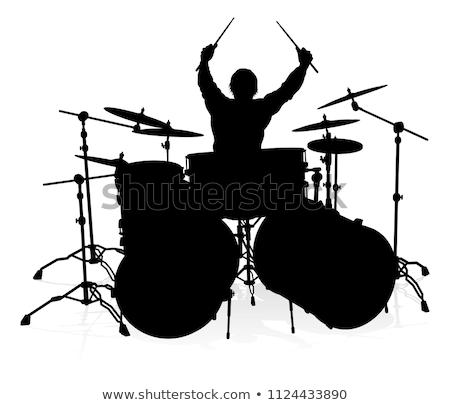 Zenész dobos sziluett dobok részletes férfi Stock fotó © Krisdog