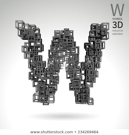 Stok fotoğraf: Küp · ızgara · w · harfi · 3D · 3d · render · örnek