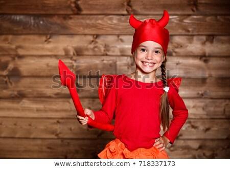 Kicsi ördög sütőtök boldog halloween aranyos Stock fotó © choreograph
