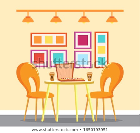 yellow table pizza and cups of coffee vector stock photo © robuart