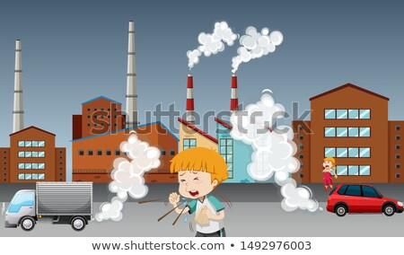 Globális felmelegedés poszter gyerek gyár illusztráció autó Stock fotó © bluering