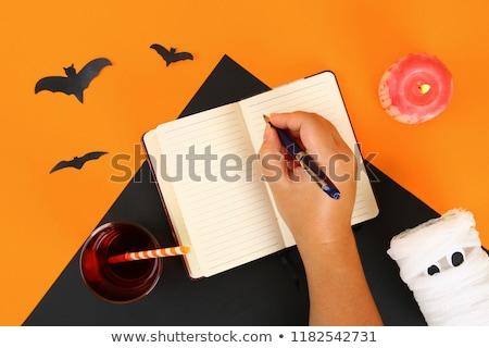 Halloween fából készült naptár papír rózsaszín girland Stock fotó © furmanphoto