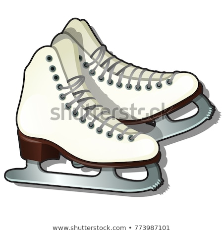 Pair of white Ice skates isolated on white background. Equipment for winter sports. Sample of poster Stock photo © Lady-Luck