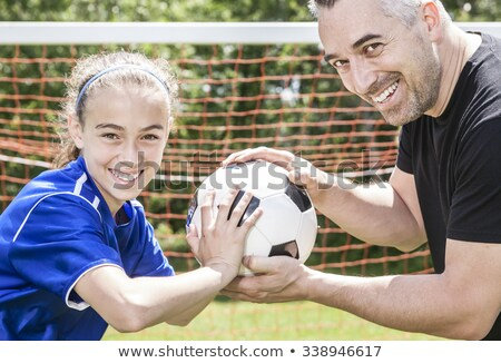 подростку девушки отец играть Футбол красивой Сток-фото © Lopolo