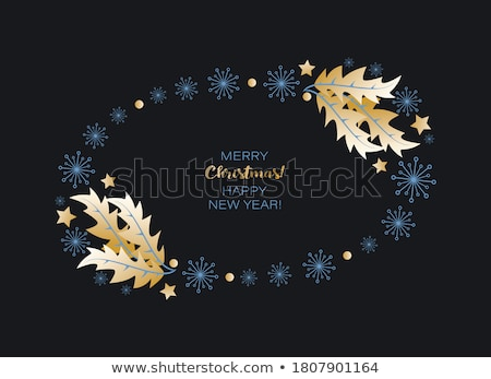 Christmas oval frame on black  Stock photo © Kotenko