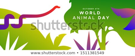 world animal day banner of exotic jungle snake stock photo © cienpies
