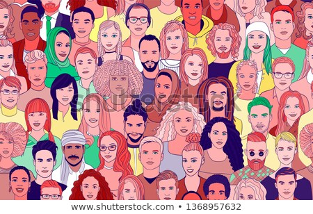 diverse people face icon seamless pattern stock photo © cienpies