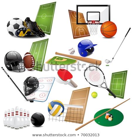 Rakieta tenisowa zielone piłka ikona odizolowany sprzęt sportowy Zdjęcia stock © MarySan