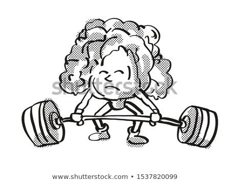 Laitue saine légumes barbell cartoon Photo stock © patrimonio