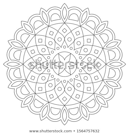 Mandala vector design, bohemian zen pattern, Asian ethnic design in black and white Stock photo © RedKoala