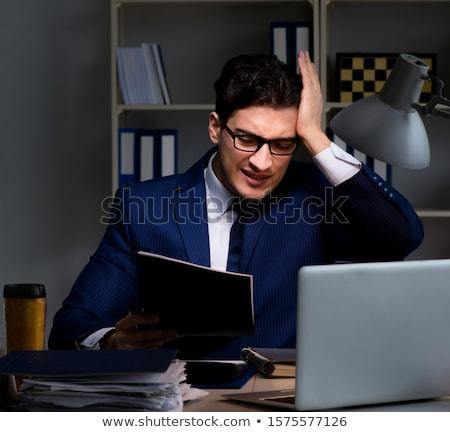 trabalhador · de · escritório · trabalhando · tarde · escritório · negócio · executivo - foto stock © elnur