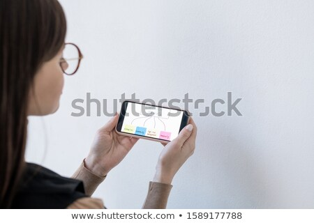 Hands of female coach holding smartphone with decision making flow chart Stock photo © pressmaster