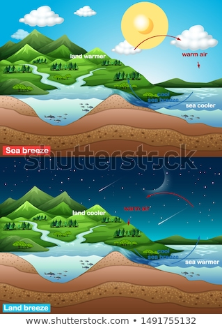 Diagram showing sea breeze with ocean and land Stock photo © bluering