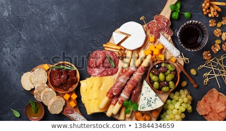 Banner italienisch Antipasti Wein Snacks Set Stock foto © Illia