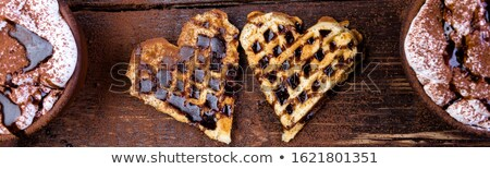 Banner of Belgian heart shaped waffle with hot chocolate with marshmallow. Stock photo © Illia