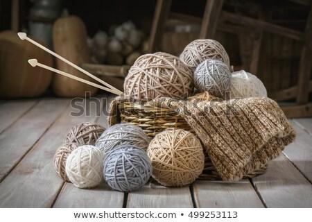 バスケット 糸 針 カラフル 孤立した ストックフォト © Eireann