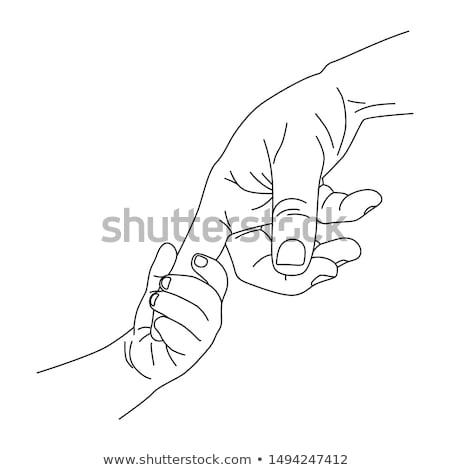 Held handen menselijke icon vector schets Stockfoto © pikepicture