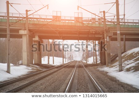 Railroad at winter time with semaphore Stock photo © AndreyKr